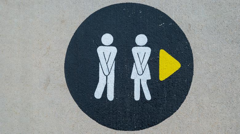 Bathroom sign need to pee