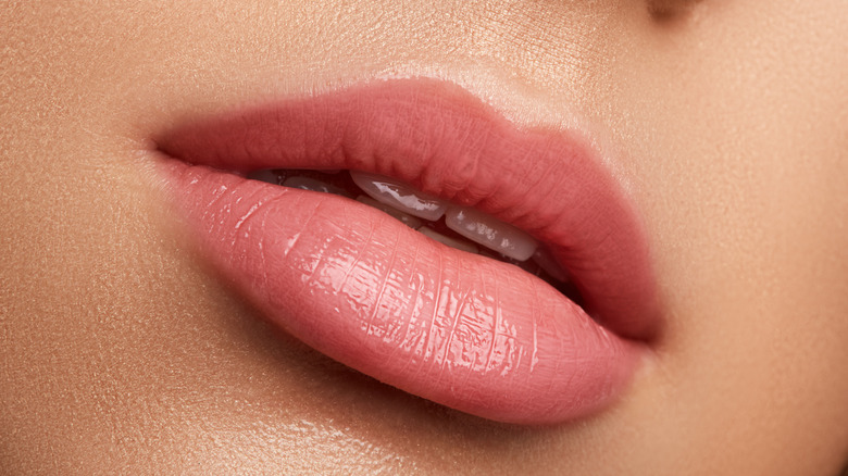 Closeup of lips with lip fillers