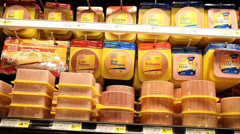 Grocery aisle of pre-sliced lunch meats
