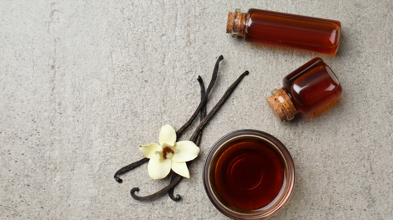 Vanilla extract in flower, bottle form