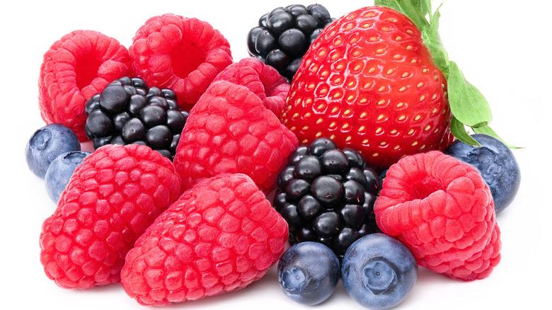 strawberries, blueberries, raspberries, and blackberries