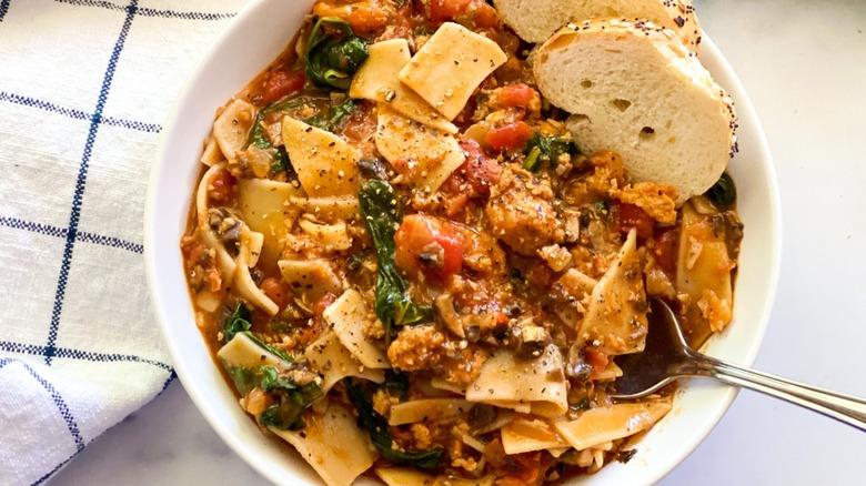 vegan lasagna soup in bowl