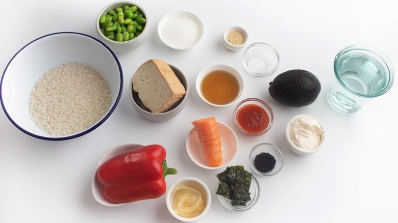 ingredients for a vegan sushi bowl