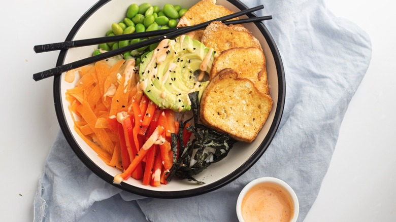 A vegan sushi bowl on a table