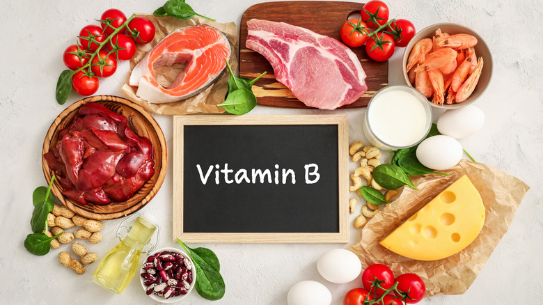 collection of foods with a sign reading vitamin B