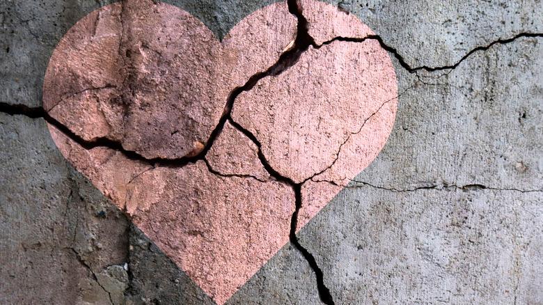 broken heart on concrete