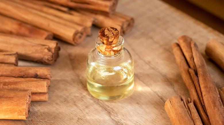 bottle of cinnamon oil