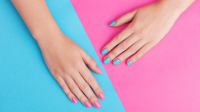 Hands with gel manicure