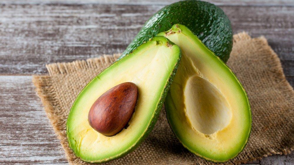 Closeup of an avocado, sliced open