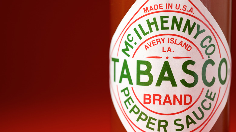 Close up of bottle of Tabasco hot sauce