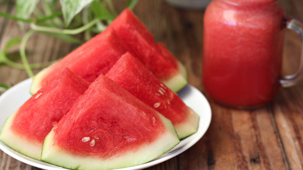 watermelon slices with juice