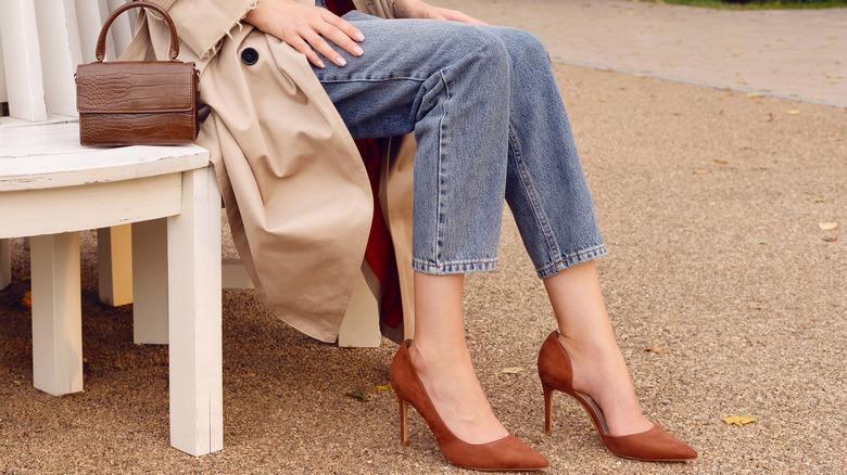 Woman wearing high heels in brown
