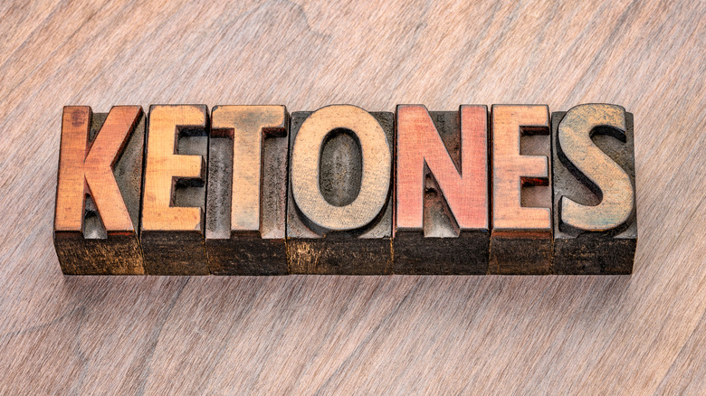 Ketones spelled out with typography blocks