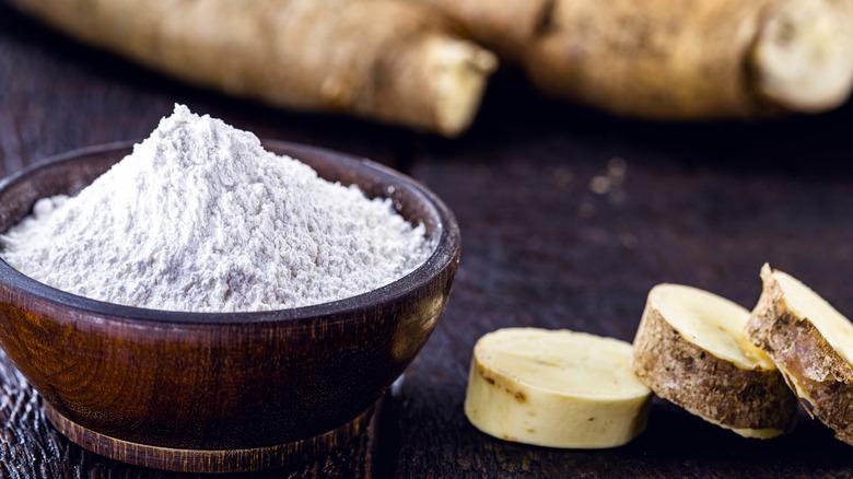 Cassava root and flour