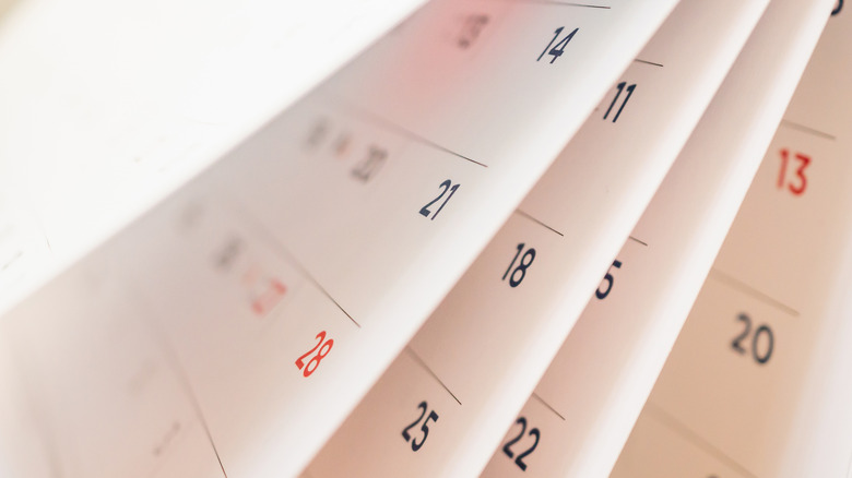 Close up of calendar pages
