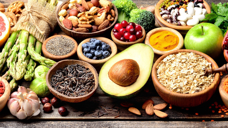 Assorted fruits, veggies, grains, and nuts