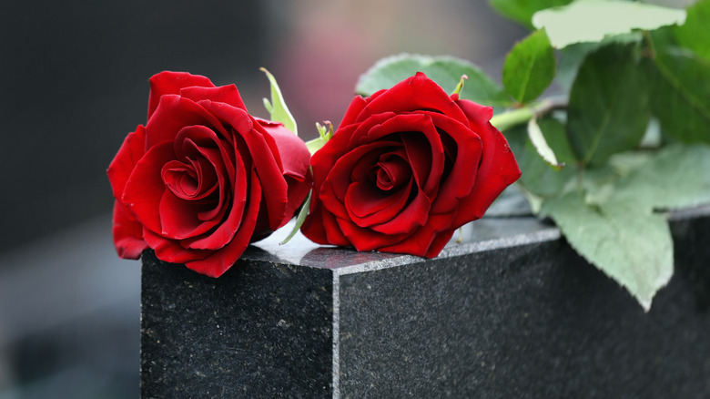 Roses on a tombstone