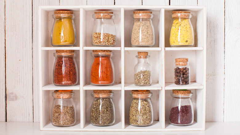 spice rack with jars