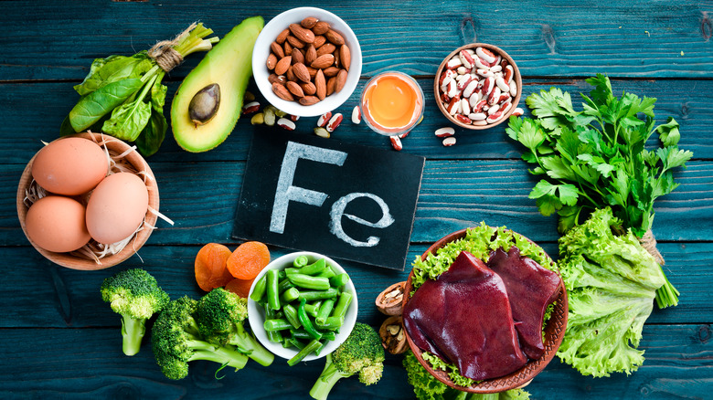 Various foods next to sign of periodic symbol for iron