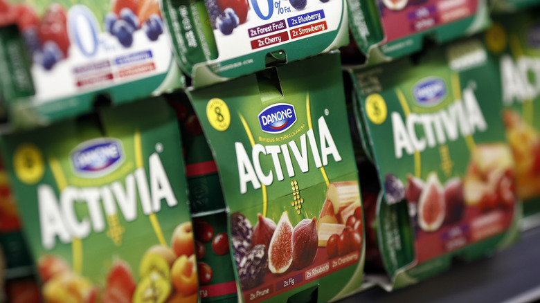 A case of Activia yogurt at a grocery store