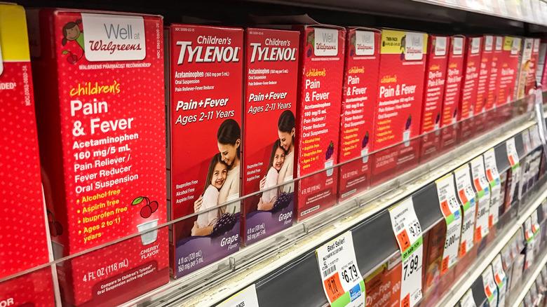 Childrens Tylenol on a shelf