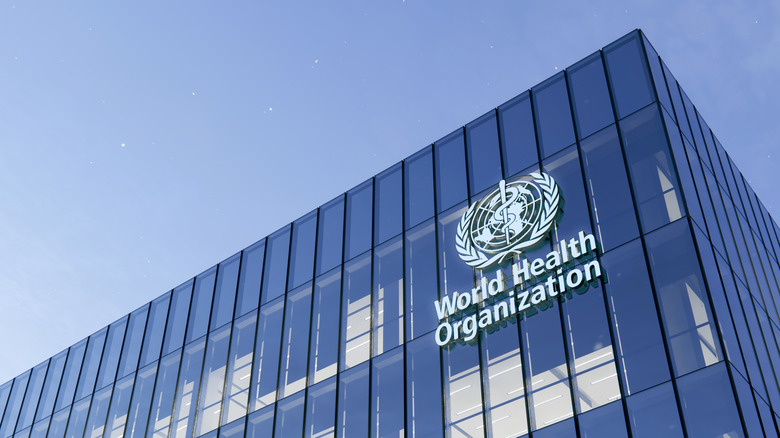The World Health Organization logo on a building