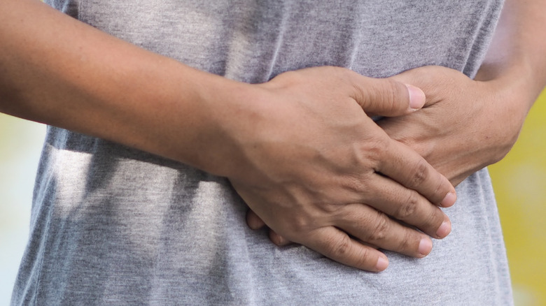 Woman experiencing uterine pain