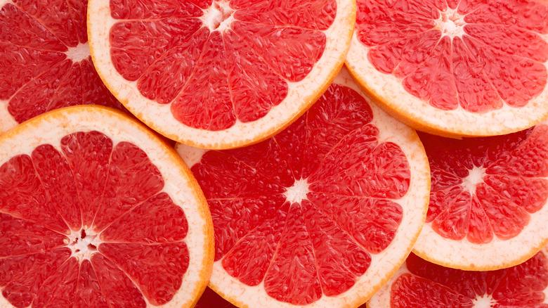 Close up of slices grapefruits