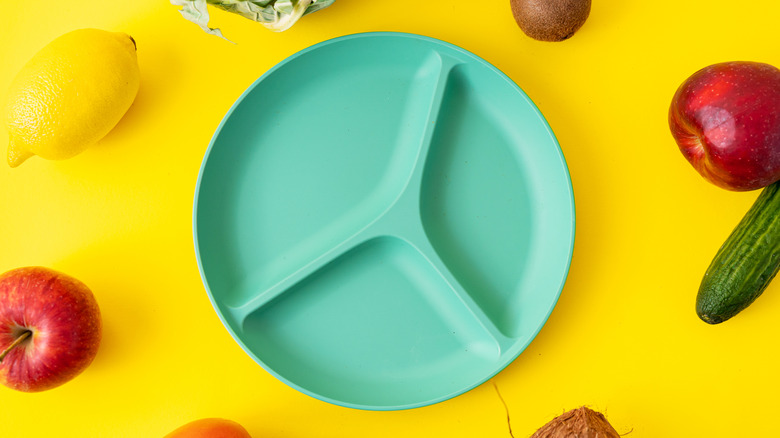 concept of elimination diet, empty divided plate