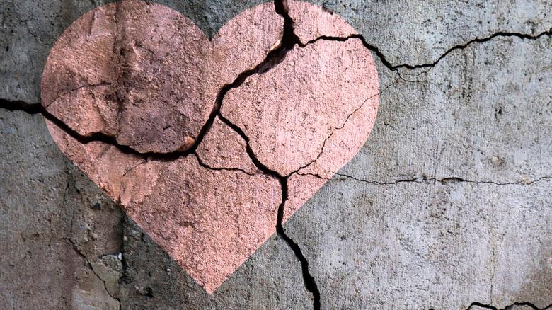 Heart painted on damaged stone