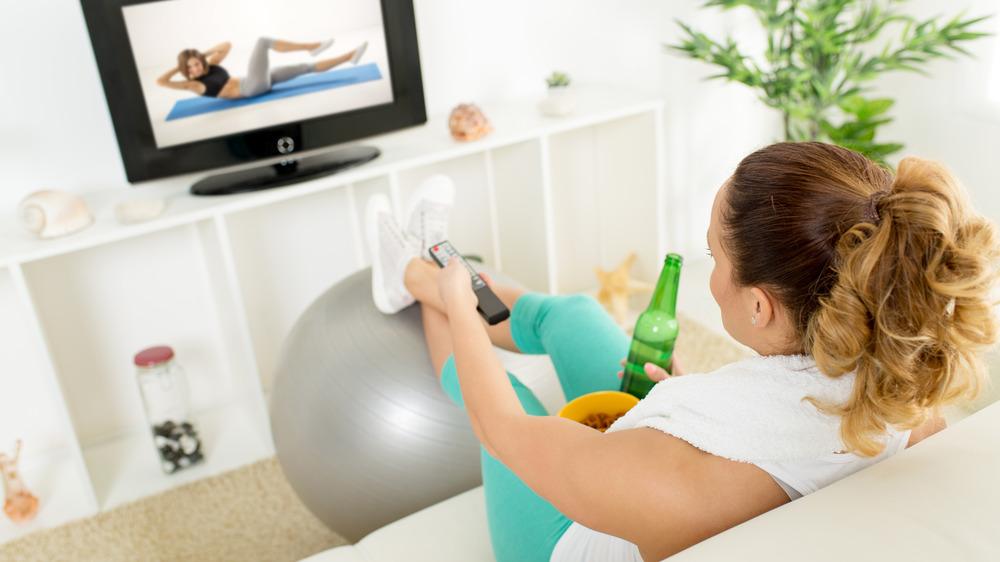 woman avoiding exercising