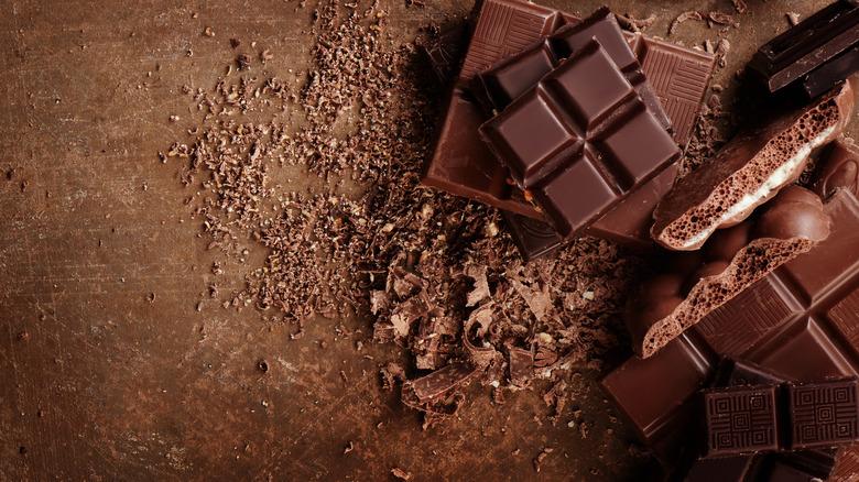Chocolate bars on table