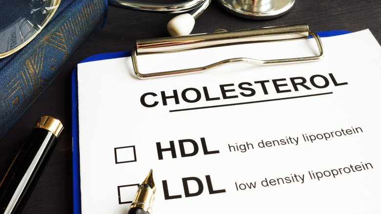 A clipboard listing the two types of cholesterol