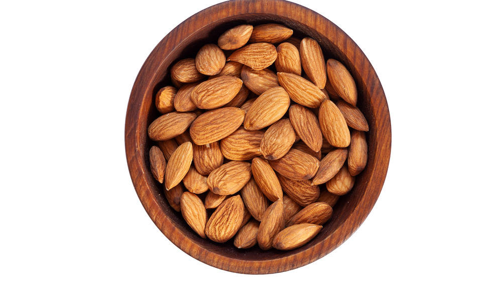 Almonds in a wooden bowl