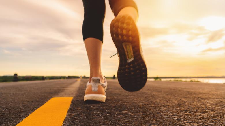 person running, shoe closeup
