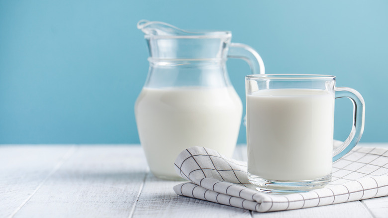 milk in a jug and mug