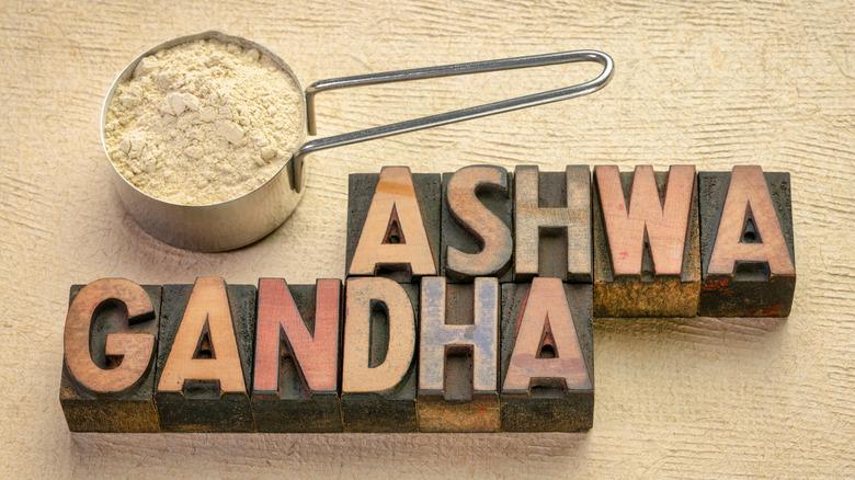ashwagandha powder and block letters