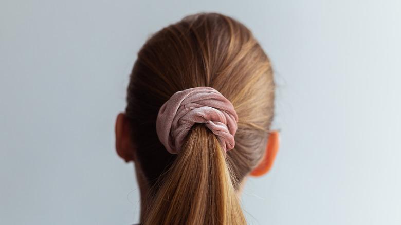 Woman's ponytail close up