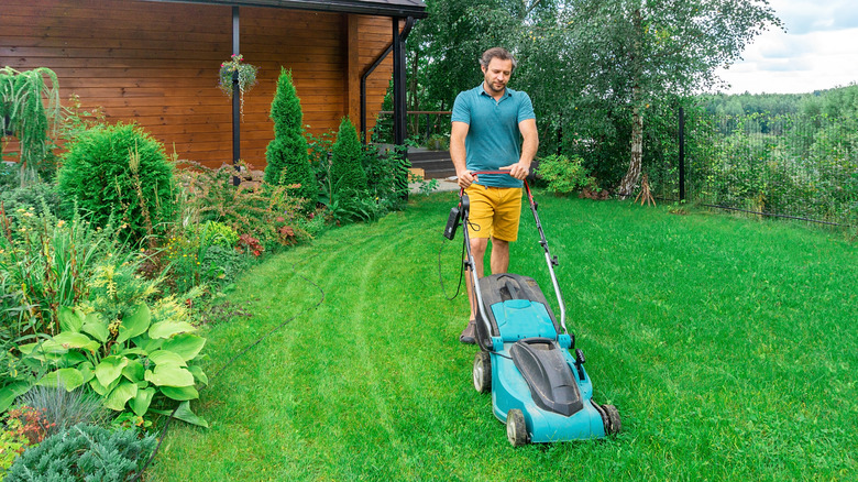 Man mowing lawn with electric lawn mower