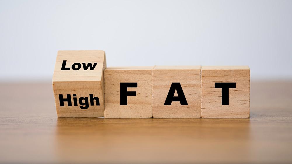 'low fat' sign on wood blocks