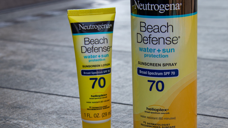 front of Neutrogena sunscreen products