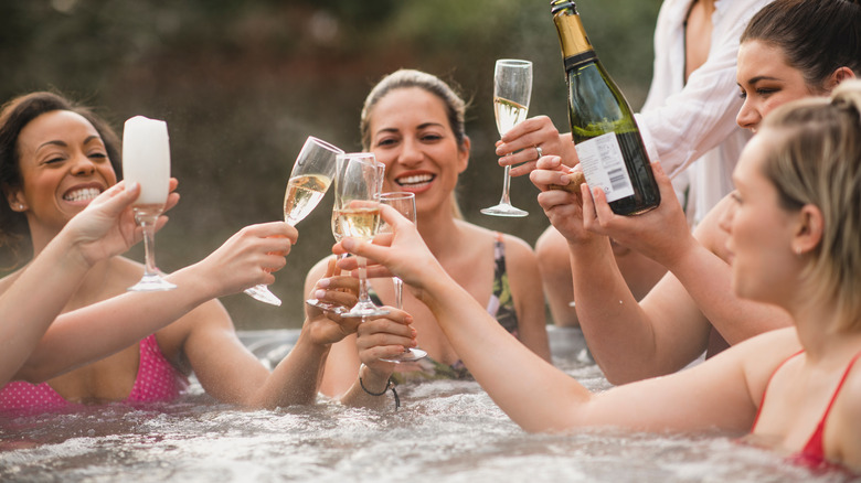 Friends in a hot tub