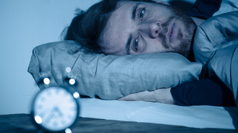 Man suffering insomnia
