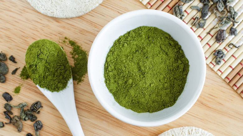 A bowl of matcha green tea powder