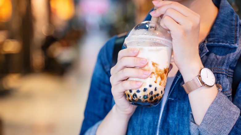Woman drinking bubble tea