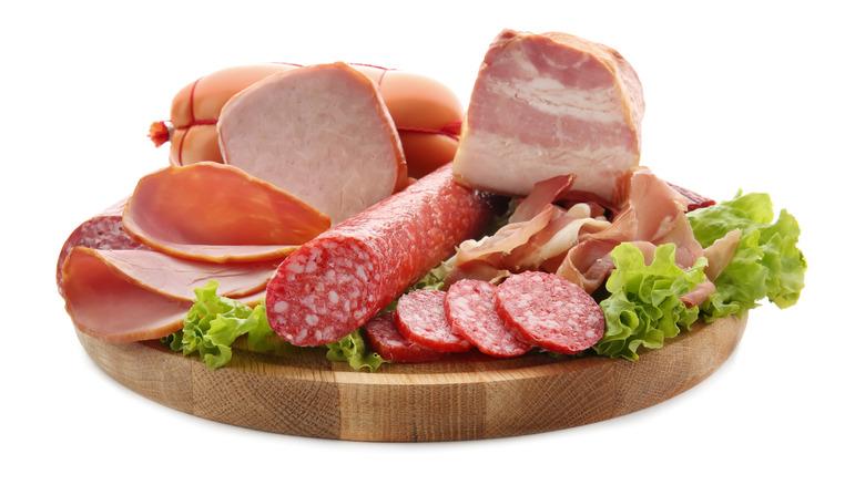 Deli meats on cutting board