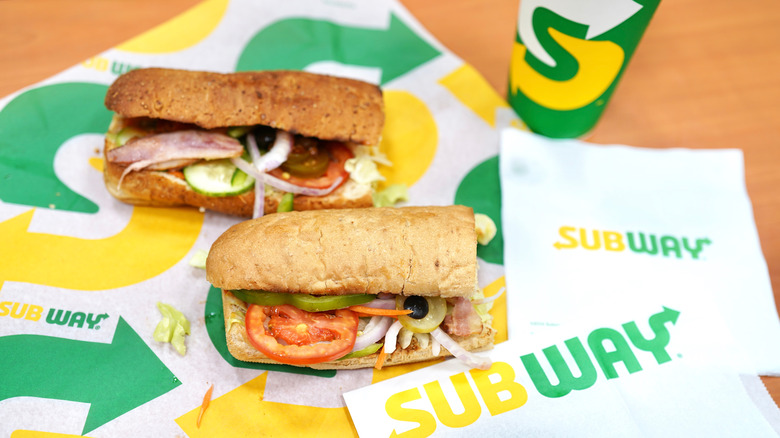 Two six-inch Subway sandwiches