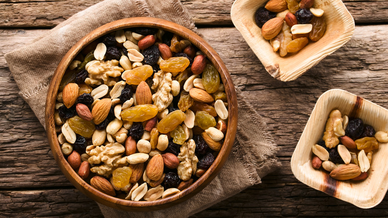 A bowl of healthy trail mix