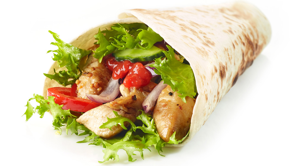 Wrap with chicken and vegetables in it