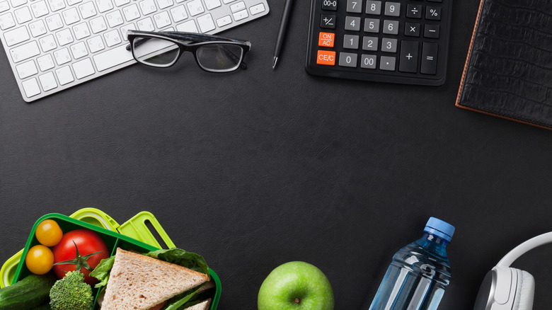 top view of lunch supplies on a desk top